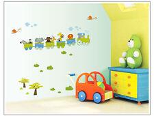 Animals Train Removable Wall Decal, Kids room, Nursery room