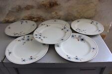 Lot de 6 anciennes assiettes à dessert - Chardons - Charles Ahrenfeldt Limoges