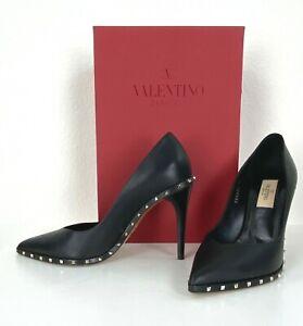 Valentino 7 US 37 EU Black Leather Pumps Heels Shoes Rockstud Box Auth Mint $995