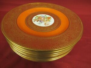 12 Antique Crown Staffordshire China Dinner Plates Gold Encrusted & Orange