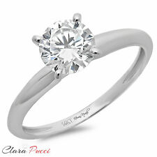 1.50 ct BRILLIANT Round CUT SOLITAIRE ENGAGEMENT RING Prong Set 14K White GOLD