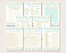 Twinkle Little Star Mint Green Gold Baby Shower Games Pack - 8 Printable Games