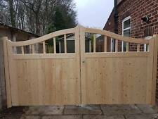 Timber wooden gates 70mm arch top with spindle section pair ANY SIZE Heavey duty