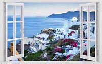 GIANT GREECE view 3D Window ART wall decals sticker NEW wallpaper sea Mural W06