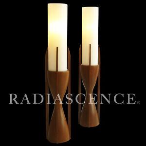 PAIR DANISH ATOMIC MODERN MODELINE WALNUT COLUMN TABLE LAMPS 1950s pearsall