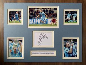 "Manchester City Pablo Zabaleta Signed 16"" X 12"" Double Mounted Display"