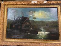 "Antique F Sawyer ""Watermill At Night Scene"" Oil On Metal Painting - Framed"