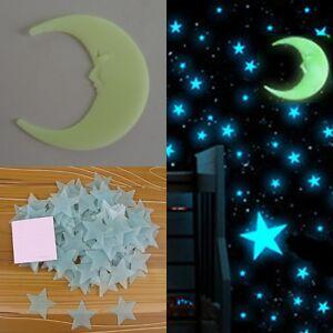 100 pcs 3D Stars Glow In The Dark 1x Moon Luminous Fluorescent Wall Stickers New