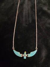 Native Navajo Handmade Sterling Silver Eagle Turquoise Necklace -Ben Livingston