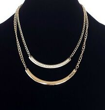 Gold Tone 2 Strand Chain Guess Logo Curved Tube Bar Pendant Necklace Jewelry