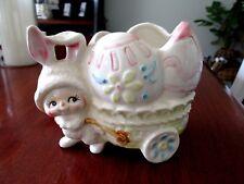 Vintage Relpo Vase Pixie Bunny Egg Cart Wagon Planter Easter