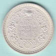 BRITISH INDIA 1943 KING GEORGE VI ONE RUPEE SILVER COIN NEAR ABOUT UNC
