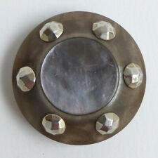 Button Antique - Galalith Studded & Mother-of-Pearl - 1/32in - Plastic Button