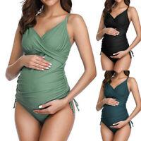 Women Maternity Solid Padded Tankini Bikini Swimsuit Beach Pregnant Swimwear Set