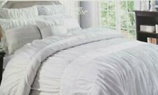 Hotel Home Maison Deluxe Luxurious White 100% Cotton King Duvet Cover Set Ruched