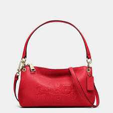 Coach EMBOSSED horse & carriage charley crossbody in pebble leather Red NWT
