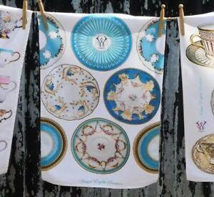 100% Cotton Antique English China Blue Plates Tea towel UK Designed Printed NEW