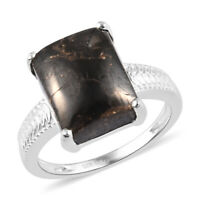 925 Sterling Silver Black Karelian Shungite Solitaire Ring Jewelry Size 7 Ct 3.4