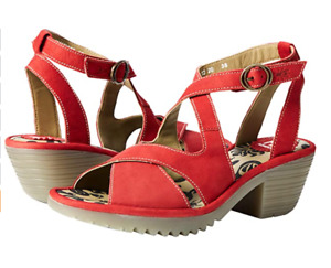 FLY LONDON WAFE152FLY LIPSTICK RED LEATHER SANDALS UK 7 EU 40 US 9 BNIB RRP £115