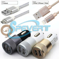 Heavy Duty USB Data Cable for iPhone Samsung LG HTC + 2in1 Car Charger Adapter
