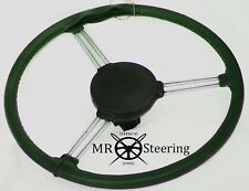 FOR MORRIS MINOR LUXURY GREEN PERFORATED LEATHER STEERING WHEEL COVER