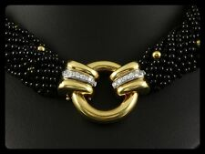 Traumhaftes 18-reihiges Brillant Onyx Collier mit ca. 0,72ct   750/- Gelbgold