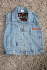 Vintage Harley Davidson childs size 6 Light Blue Denim Jean Vest (L12)
