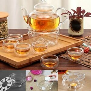 Clear Glass Portable Round Teapot Warmer Candle Base Heater For Dish Coffee Tea