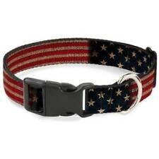 Buckle Down Vintage US Flag Stretch Dog Collar