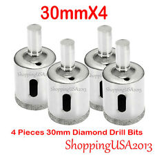 4 Pcs 30mm Diamond Coated Drill Bits Set Hole Saw Cutter Tool Glass Marble Tile*