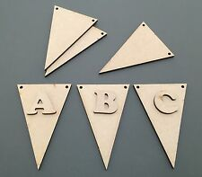 D20 1x 100mm Triangle Bunting & 1x Letter Craft Shapes Blanks Laser Cut MDF Hang