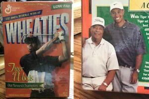 Wheaties, Tiger & Earl Woods, 1998, LE, Inaugural Box, Champion On & Off Course