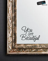 You are Beautiful Vinyl Decal Sticker for Mirrors or walls. Motivational Quote