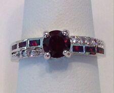 Elegant Sterling Silver Garnet Ring  Size 8.  2 Available.