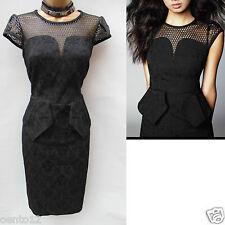New Karen Millen Black Jacquard Brocade Peplum Pencil Ladies Dress Size UK 10