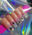 Custom Press On Nails Airbrush Ombre Neon Holo Rhinestones Coffin Personal Sets