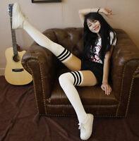 cute Womens Girls Thigh High Striped Cotton Socks Over Knee Stockings Black