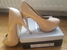 WOMENS LADIES WELL WORN BEIGE NUDEHIGH STILETTO HEEL PLATFORM COURT SHOES SIZE 8