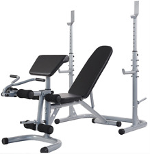 Adjustable Olympic Workout Bench Squat Rack Preacher Curl Leg Ext up to 800 lbs