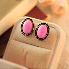 Girl Lady Lovely Jewelry Vintage Style Big Rhinestone Elliptic Earrings Ear Stud