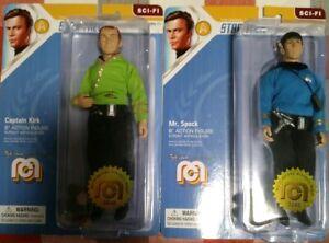 """Star Trek Mego Captain Kirk in Green Shirt 8""""and Mr. Spock lot brand new"""