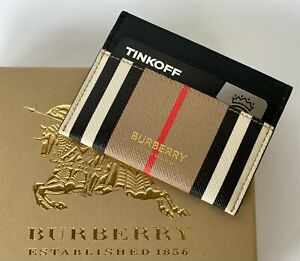 Burberry Card Case New 100% Authentic Leather Checkered Pattern Beige RRP 200$