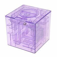 5X(Plastic Cubic Money Maze Bank Saving Coin Collection Case Box 3D Puzzle G2U8