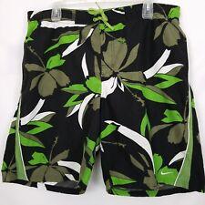 "Nike Swim Green Black Hibiscus Trunks Board Shorts L 36-40"" Waist"