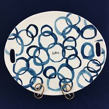 """Rae Dunn ARTISAN COLLECTION By MAGENTA Large SERVE Blue Circles Oval 15"""" Platter"""