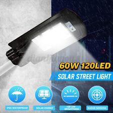 60W Solar Powered LED Street Light Radar PIR Motion Sensor 120 LEDs Wall Lamp US