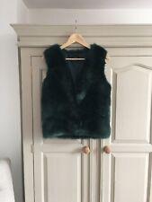Topshop Faux Fur Gilet Green Size 6 Autumn Winter Christmas Party Smart