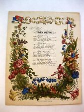 1800s Gorgeous Card and Poem with Flower People With an Early Rose Poem
