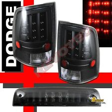 09-15 Dodge Ram 1500 2500 3500 Pickup Black LED Tail Lights & 3rd Brake Light