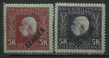 Serbia overprinted on 1916 Bosnia Military 3 and 5 kreuzers mint o.g. hinged